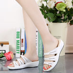 Candy Color Leather  Platform Beach Sandals Slippers