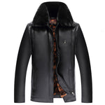 Mens Leather Lapel Thicken Jacket PU Solid Color Casual Business Woolen Coat
