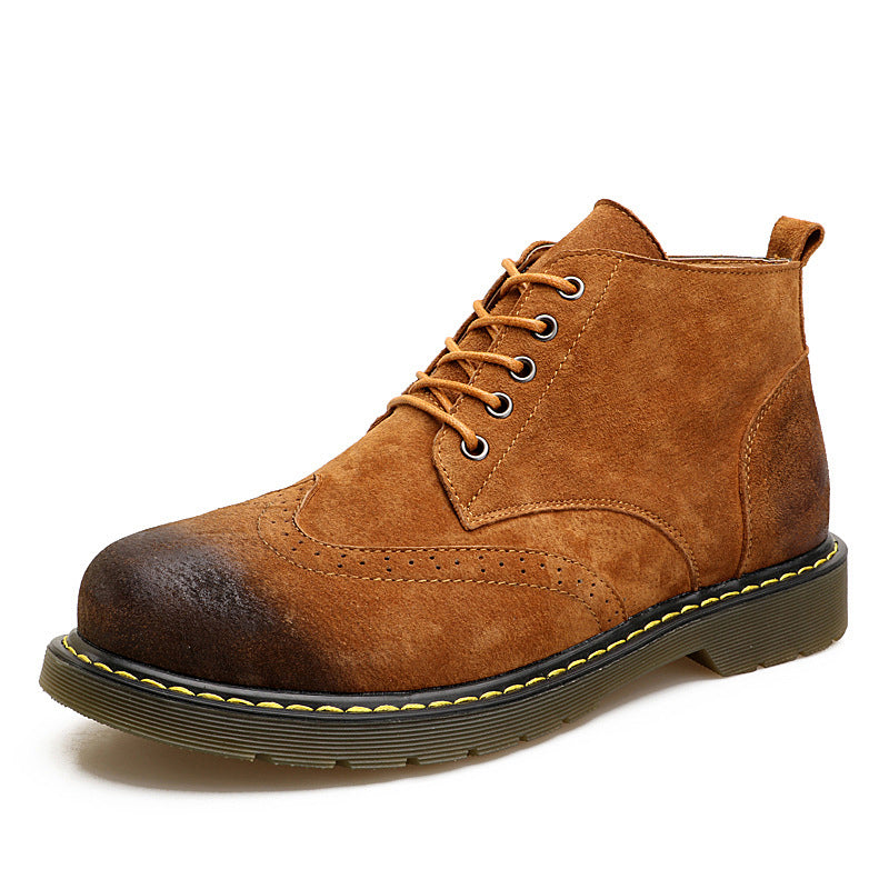 Plus Size Lace Up Leather Boots For Men