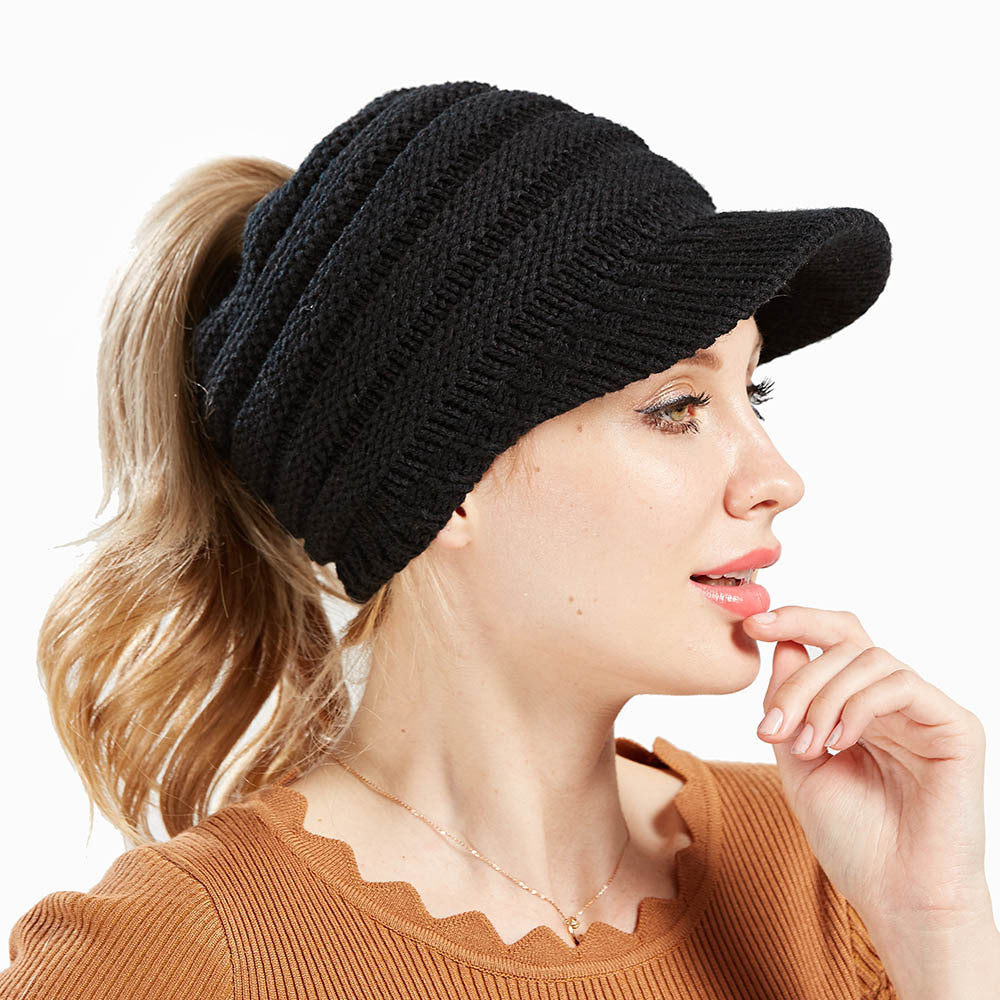 Women Soft Woolen Multifunctional Knit Hat Messy Bun Hat Warm Elastic Ponytail Beanie Hat