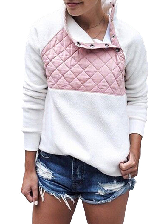 Splicing Tilted Collar Sweatshirt