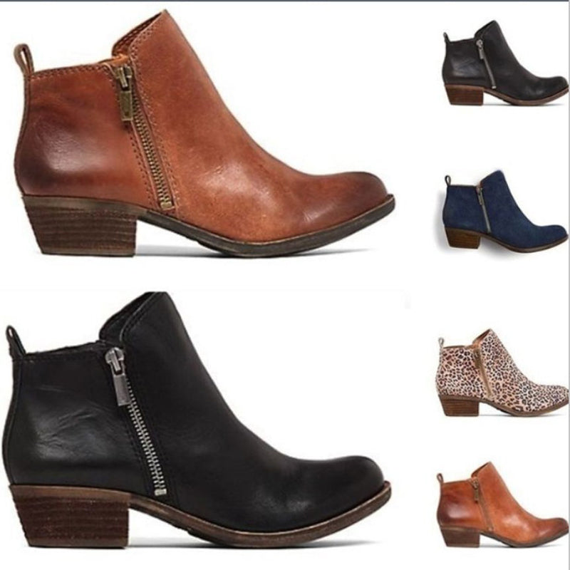 Women's Low Heel Western Zipper Ankle Boots
