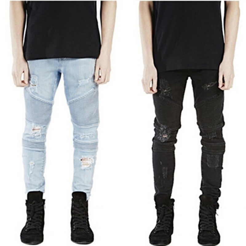 Biker Holes Fold Zipper Ripped Jeans for Men
