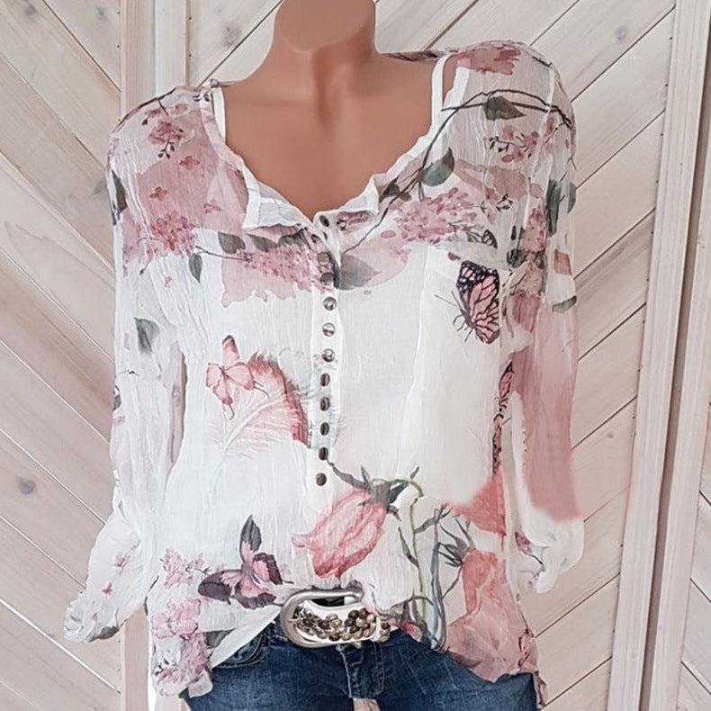 Floral Printed V-neck Long Sleeve Blouses