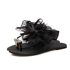Crystal Flower Summer Black Lace Bow Tie Rhinestone Slippers