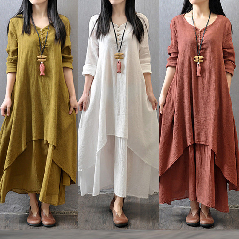 Vintage Women Long Sleeve V-Neck Irregular Maxi Dresses