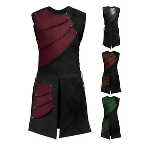 Sleeveless Round Collar Stitching Men's Medieval Costume