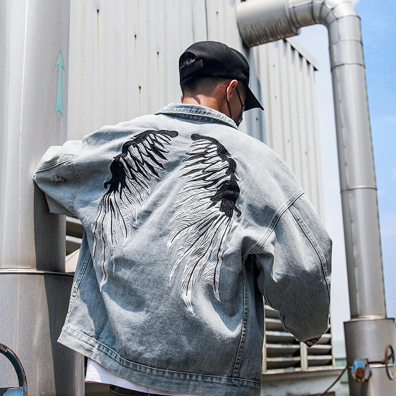 Wing Embroidered Denim Jacket