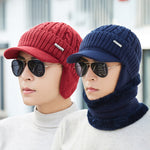 Men Winter Warm Ears Velvet Knit Beanie Scarf Cotton Hats