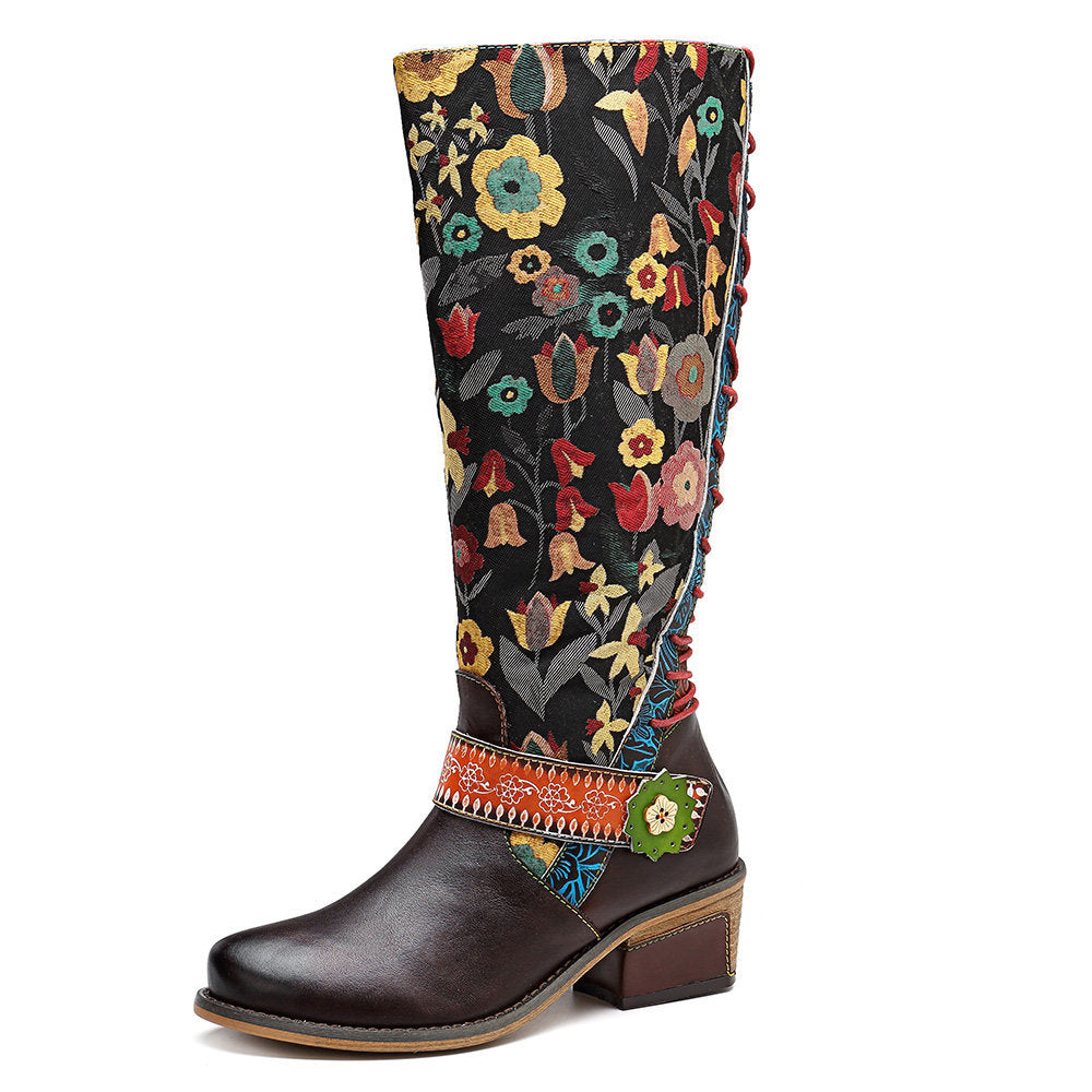 Floral Pattern Genuine Leather Splicing Knee Flat Boots