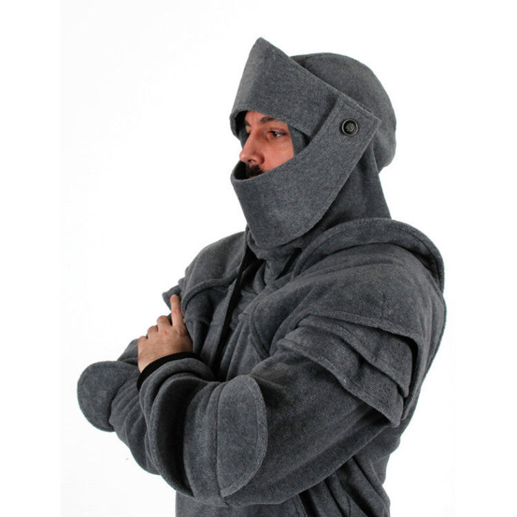 Men Vintage Elbow Protector Rope Mask Rider Hoodie