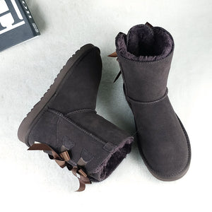 Women Mid Calf Fur Lining Snow Boots
