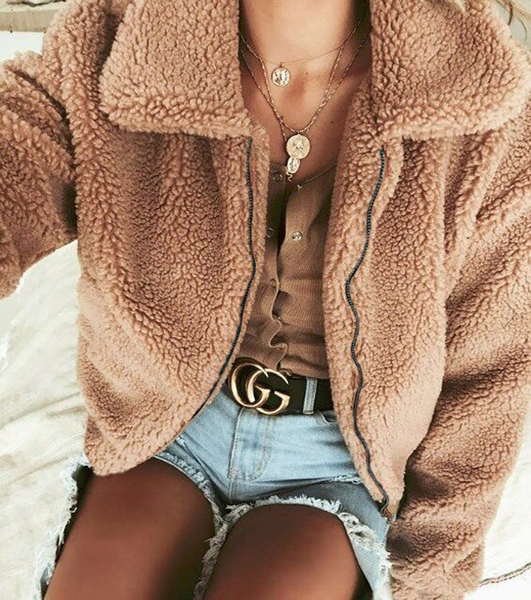 2019 Autumn & Winter Soft Plush Fur Short Coat