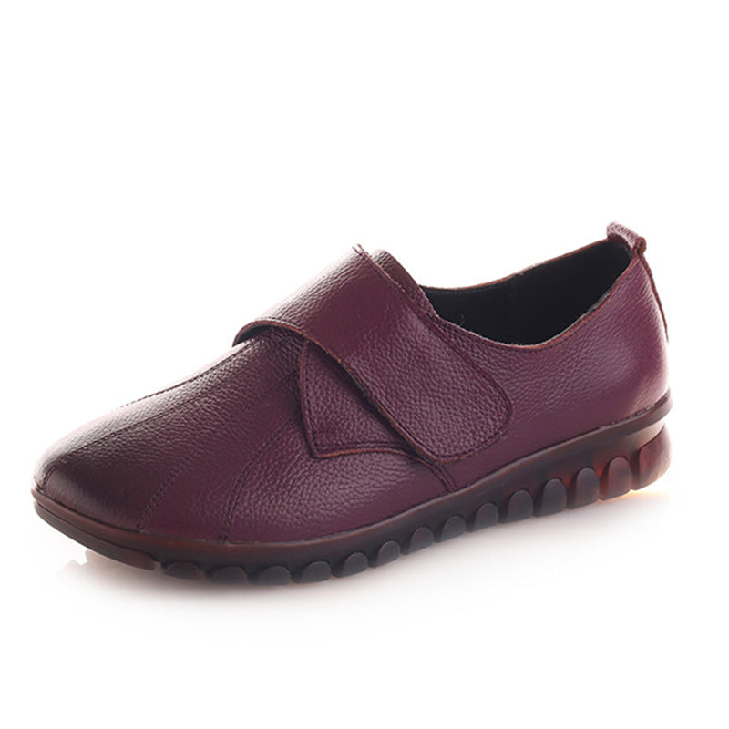 Women's Vintage Casual Pure Color Comfort Leather Flat Shoes