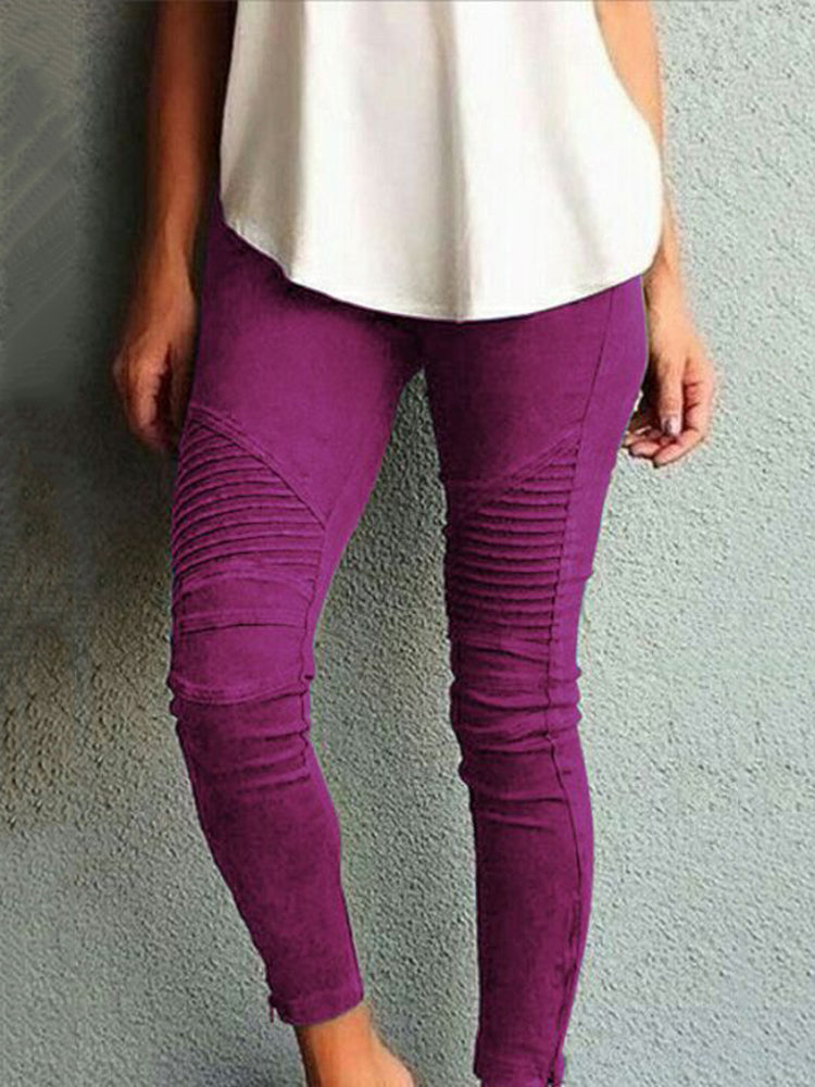 Plus Size Women's Fashion Solid Color Casual Slim Tight Pants