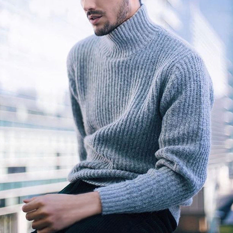 Solid Color Long Sleeve High-neck Men's Sweater