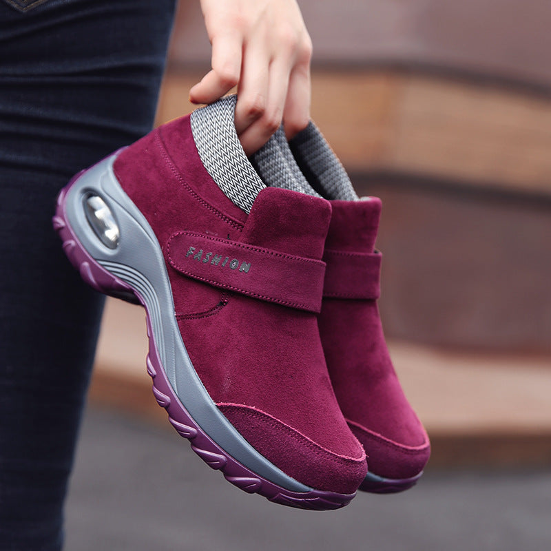 Women Autumn Suede Walking Slip Resistant Casual Comfortable Flat Shoes