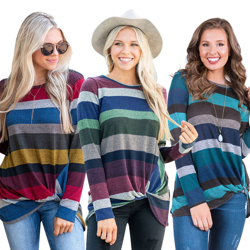 Striped Long Sleeve Irregular Twist Top Blouse