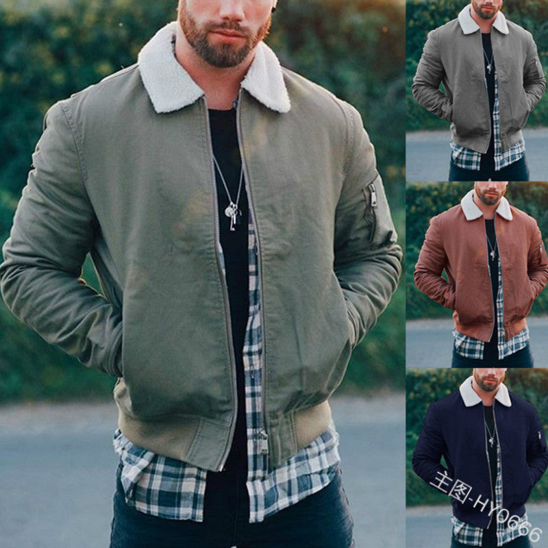 Men's PU Leather Shearling Coat Jacket