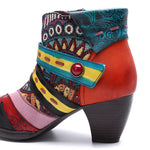 Bohemian Splicing Pattern Zipper Ankle Leather Boots