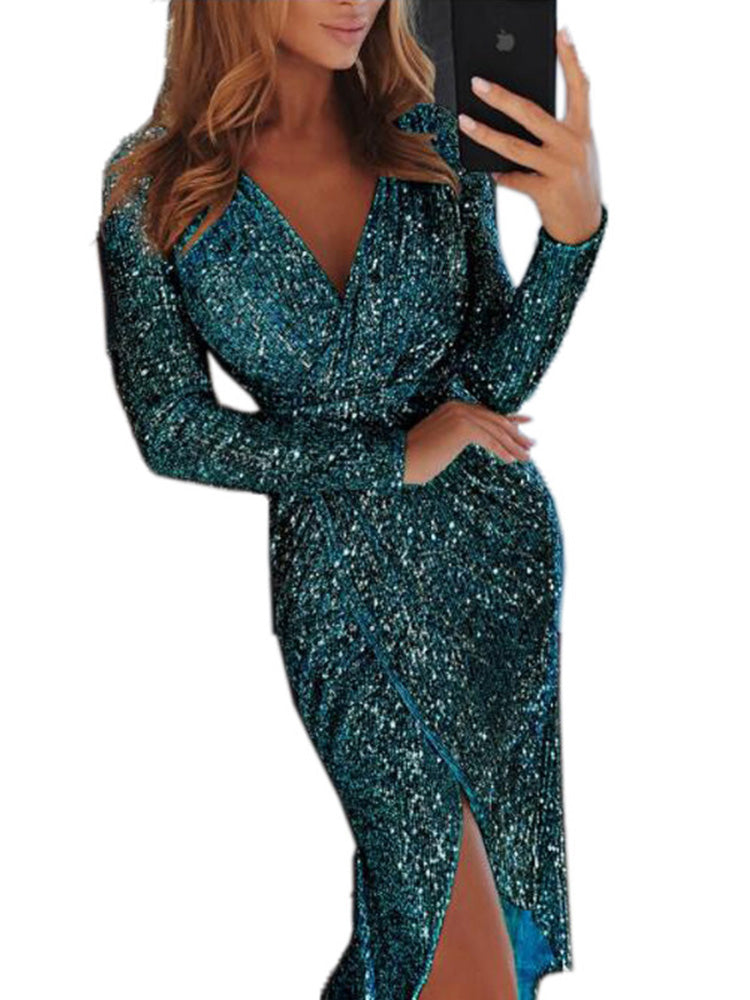 Sexy Sequins Asymmetrical Hem V Neck Dress