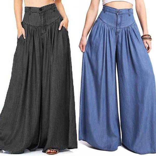 Super Wide-leg Casual Side Pocket Baggy Trousers