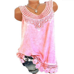 Lace Sleeveless Solid Color Vest
