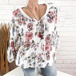 Fashion Floral Print V-Neck Lace Up Blouses