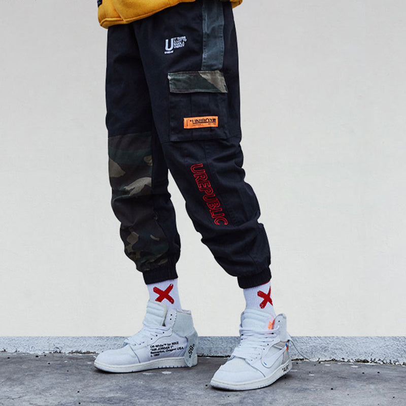 Camouflage Patchwork Cargo Pants