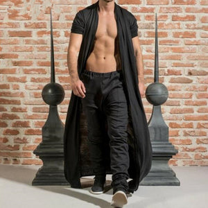 Mens Brief Long Pleated Draped Solid Color Cardigan Casual Long Robe