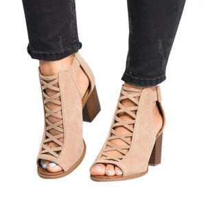 Open Toe Ankle Strap Zipper High Heel Sandals
