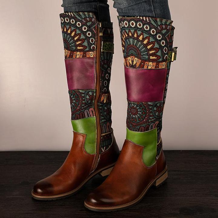 Retro Zipper Ethnic Style Stitching Color Boots