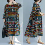 Large Size Cotton Linen Dress