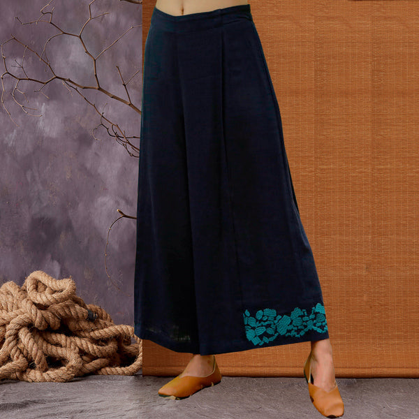 New Style Vintage Embroidery  Women Linen Loose Pants