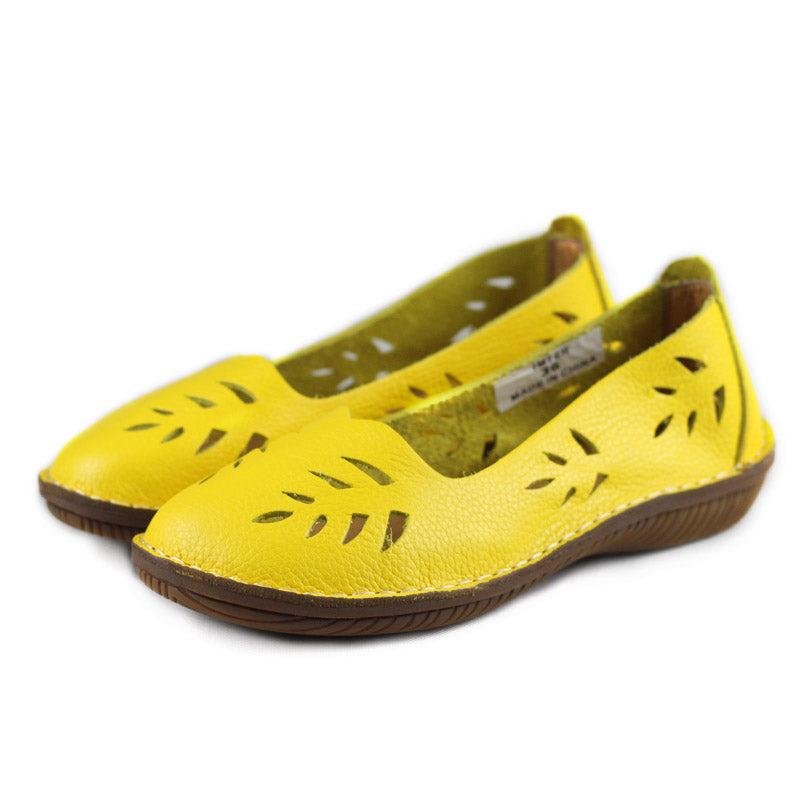 Women Genuine Leather Hollow-out Flats