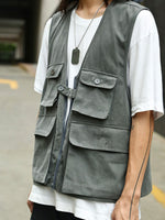 Japanese Retro Loose Tooling Big Pocket Vest