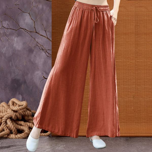 Loose Elastic Waist Casual Wide Leg Pants