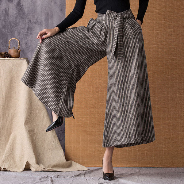 Women Vertical Stripes Breathable Linen Loose Wide Leg Pants