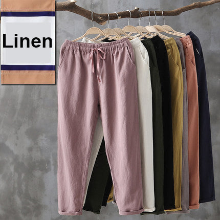 Simple Basic Shift Solid Linen Pants