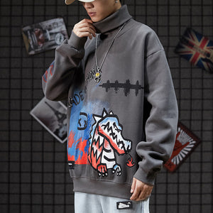 Round High-neck Hip-hop Cartoon Printing Sweatshirt