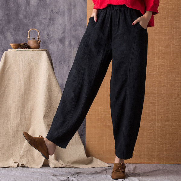 Black Linen Loose Wide Leg Pants