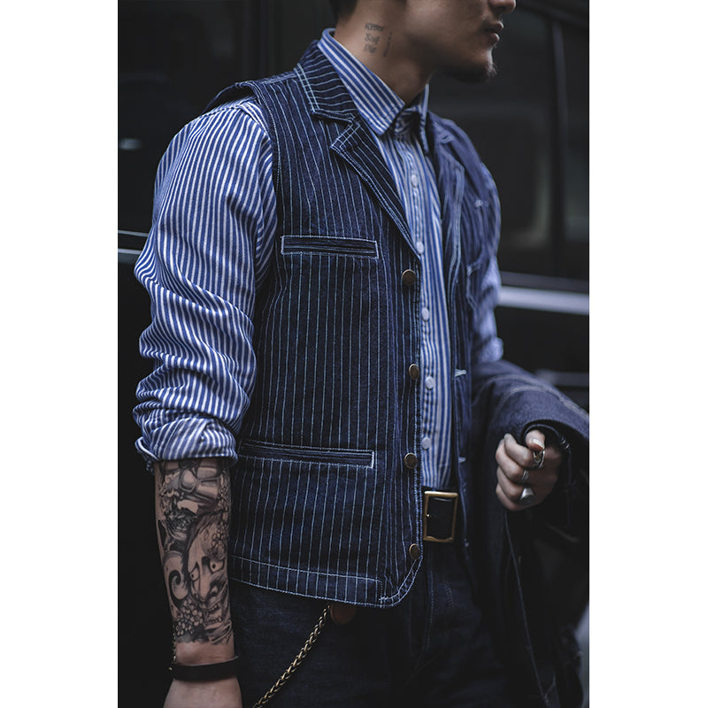Men's Striped Denim Suit Vest
