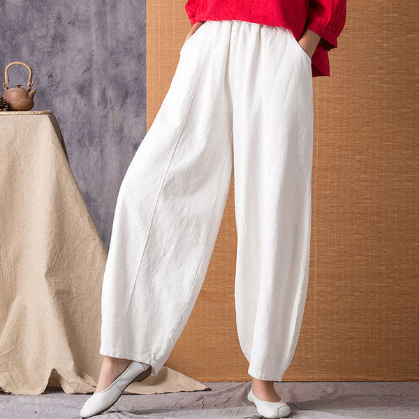 Women Breathable Linen Loose Bloom Wide Leg Pants
