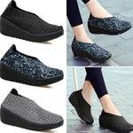 Color Match Knitting Elastic Handmade Slip On Casual Outdoor Shoes
