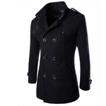 Mens Double Breasted Mid-long Woolen Trench Coat