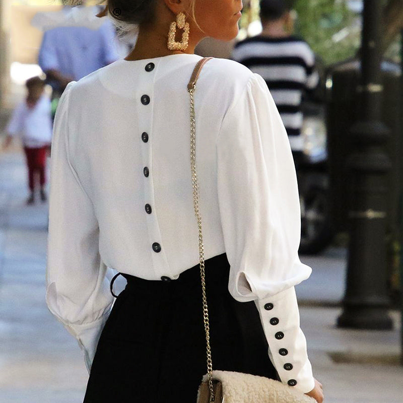 Women Puff Sleeve Button White Blouse Shirt