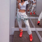 White Flaming Fire Printed Streetwear Pants