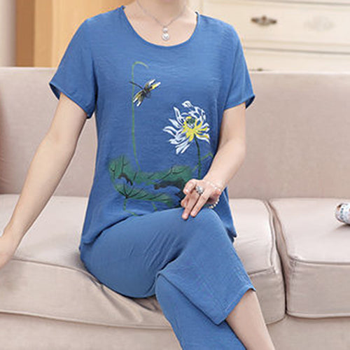 Women's Home Sets Lotus Print T-shirt + Trousers Casual Two-piece