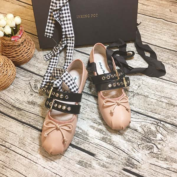 Ballet Shoes Vintage Sweet Bow Tie Flat Shoes