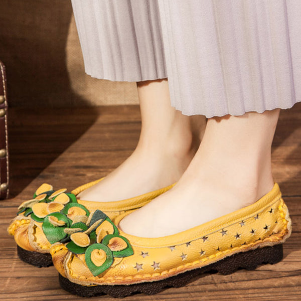 Handmade Flower Loafers Soft Flat Casual Shoes